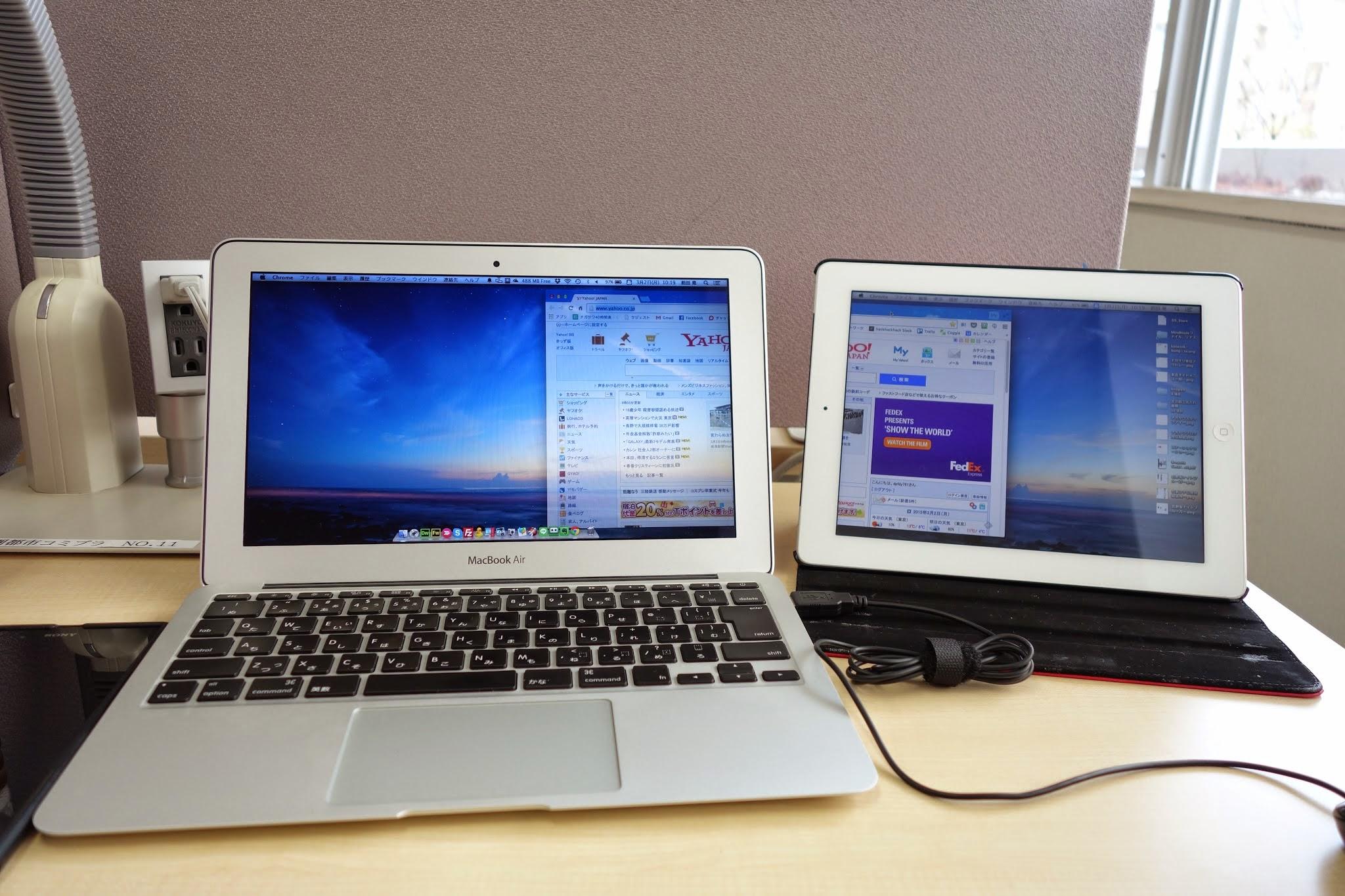 眠っていたau iPad4thでMacBook Airをデュアルディスプレイ