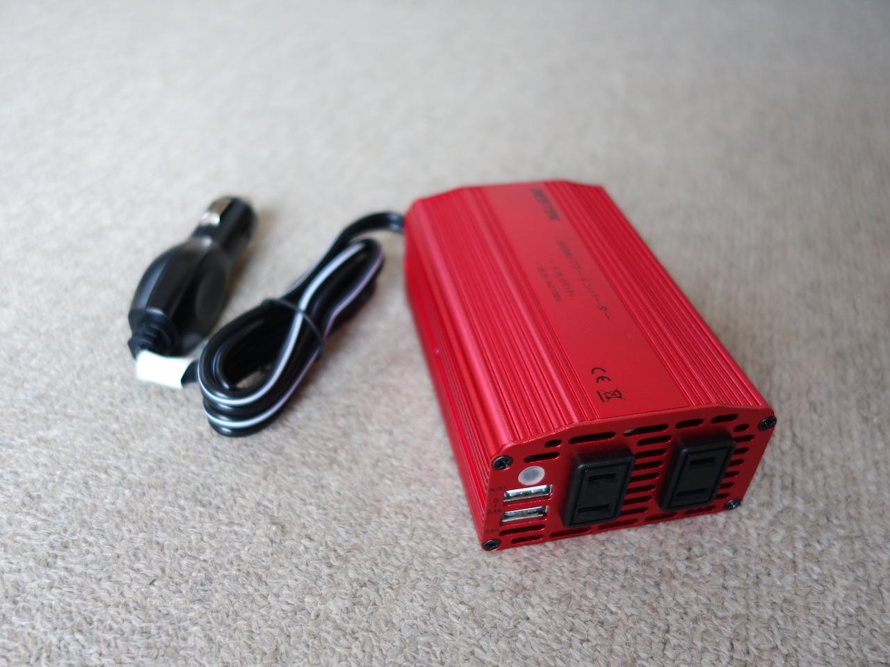 BESTEKのカーインバーターでポータブル電源の充電も冷蔵庫も動くぞ!